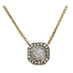 Rose Cut Diamond Necklace.  A Single Stone original.