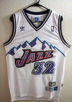 Men 32 Karl Malone Jersey White Utah Jazz Jersey Throwback Swingman a316c30e1