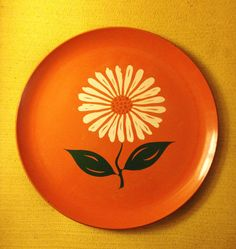 Japanese vintage lacquerware orange plate with by SpaceModyssey