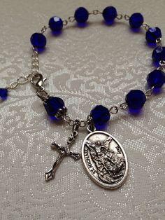 St Michael Dark Blue Cobalt Crystal Catholic Rosary Bracelet on Etsy, $10.00
