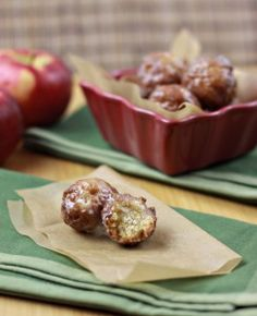 Apple Cider Donut Holes - good fritter recipe with apple flavor in the donut from reduced apple cider (how good will that smell boiling on the stove-mmm!)and apple pieces.