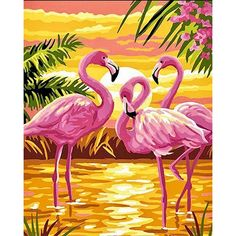 Diy Painting Paint By Number Kits Diy Oil Paint Flamingo With Brushes And Acrylic Pigment For Adults Kids Beginner Christmas Decor Pre-Printed Canvas Art Home Decorations Gifts 40X50Cm Frameless Oil