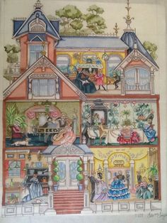 Rare Vintage Edie and Ginger Hand Painted Victorian House Needlepoint Canvas