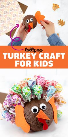 Turkey Craft for Kids - Learn how to make this easy and fun Thanksgiving turkey craft for kids with lollipops, paint, and a styrofoam ball. It's perfect for preschool!