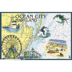 Ocean (Blue) City, MD - Nautical Chart - LP Artwork (Cotton/Polyester Chef's Apron)