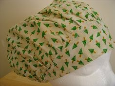$9.99 This scrub hat has great GREEN DECORATED CHRISTMAS TREES with RED DOTS on a  BEAUTIFUL SOFT CREAM background. They almost look OLD FA...