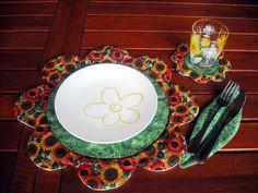 Cartamodello per tovaglietta all'americana in stoffa con sottobicchiere e sottoposate per una tavola fiorita, by lalunadistoffa, 8,00 € su misshobby.com