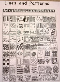 """Lines & patterns"" doodle patterns, zentangle patterns, zentangles, line patterns Zentangle Patterns, Zentangles, Doodle Patterns, Doodle Ideas, Middle School Art, Art School, Classe D'art, Art Handouts, Art Worksheets"