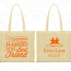 Happiness is Being Married to my Best Friend, Custom Canvas Bag Tote, A Perfect Fit, Puzzle, Romantic Wedding Bags, Wedding Party Tote (512)