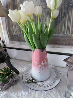 Emaille Kanne als Vase