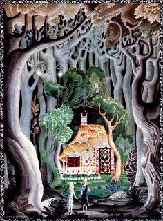 Art par Kay Nielsen (c 1921) de Hansel et Gretel et autres histoires - Vintage Art, Art du livre histoire, famille Art, artistique pour les enfants