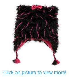 Total Girl Trapper Girls Fuzzy Black $ Pink Plush Fur Winter Hat Peruvian Beanie