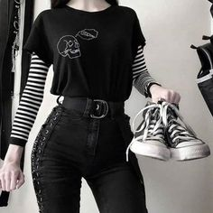 or 🍕🖤 grunge pizza blackandwhite black grungepost emo emogirl emos skull cute smol small tiny goth gothic Adrette Outfits, Bad Girl Outfits, Gothic Outfits, Teen Fashion Outfits, Grunge Outfits, Retro Outfits, Cute Casual Outfits, Stylish Outfits, Pastel Goth Outfits