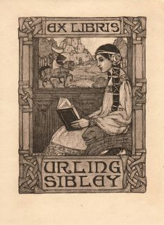 Bookplate. Urling Sibley. Frances W. (Fanny) Delehanty (American, 1879-1977). Delehanty studied at Pratt Institute and had one woman shows in New York City.  In later years, circa 1940s, she lived in Bethlehem Connecticut with Lauren Ford (1891-1973), another artist. She spent some years in France, served as a nurse in World War I, and after World War II she and Miss Ford brought nuns from Solesmes to Bethlehem where they started the present Benedictine Abbey of Regina Laudis.