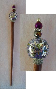 Purple & Silver Floral Wooden Hair Stick New Shawl Pin Accessories NEW  #Handmade #HairStick