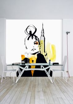 New York - Wall mural, Wallpaper, Photowall, Home decor, Fototapet… Interior Walls, Interior Design, Living Room Murals, Wall Decor, Room Decor, Wall Drawing, Mural Wall Art, Graffiti, Decorative Panels