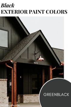 Paint your home exterior in a bold black paint color. Perfect for a modern edgy style. Best House Colors Exterior, Exterior Paint Color Combinations, Exterior Color Palette, Best Exterior Paint, Modern Color Schemes, Exterior Paint Colors, Backyard Barn, Black Accent Walls, Dark Paint Colors