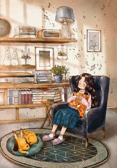 listen to music one afternoon. – by Aeppol – Wallpaper Grafiti, Forest Girl, Korean Artist, Anime Art Girl, Illustrations And Posters, Cute Illustration, Beautiful Artwork, Cute Wallpapers, Cute Art