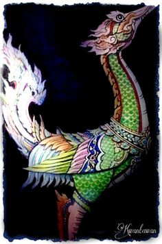 Hongsa of Meadow -   Although there are numerous appearance of Hongsa in Thai architectures, little is known about its origin. From ancient murals, pictures, and sculptures, Hongsa share similar traits as a swan. In Hindu religion, Hongsa is also the vehicle of lord Brahma.