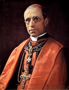 Pope Pius XII while still Cardinal Pacelli wearing the decoration of Bailiff Grand Cross of the Order of Malta.: