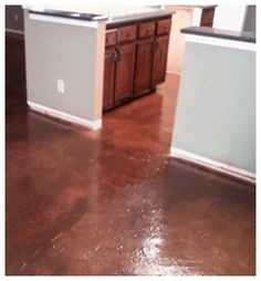 painted concrete floors - nice to do in hot climates Painted Concrete Floors, Painting Concrete, Floor Painting, Basement Flooring, Basement Remodeling, Kitchen Flooring, Basement Inspiration, Dining Room Walls, Home Renovation