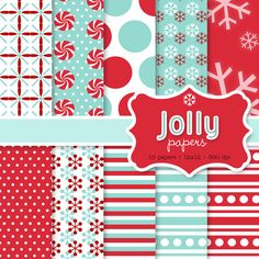 jolly digital papers - printable snowflakes, polka dots, stripes paper for the holidays