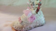 Altered Baby Shoe Pin Cushion & Stick Pins