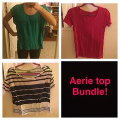 Special Deal! Aerie comfy top t shirt bundle! 3 great shirts now at a special rate! All in great condition. Green top has tiny hole from cutting of hanger straps but it is barely noticeable when worn, especially with long hair! Each top is also listed separately in my closet - please see those listings for more specific details! aerie Tops Tees - Short Sleeve