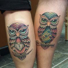 cute Owl Tattoos, I Tattoo, Owl Tattoo Design, Tattoo Designs, Sugar Skull Owl, Tattoo Couples, Him And Her Tattoos, Best Couple Tattoos, Friendship Tattoos
