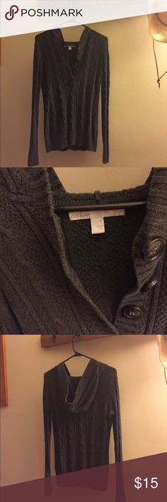 Old Navy hooded sweater Gray Old Navy sweater with hood and buttons on front Old Navy Sweaters V-Necks