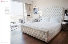 I am not really into super white rooms, but how can you resist tufting like that and amazing X tables?