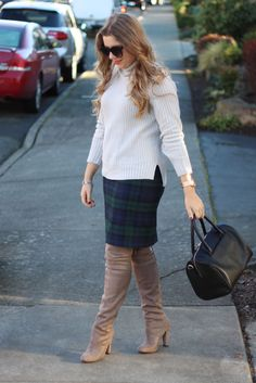 I don't like the skirt, but those shoes are gorgeous!! Steve Madden gorgeous over the knee boots