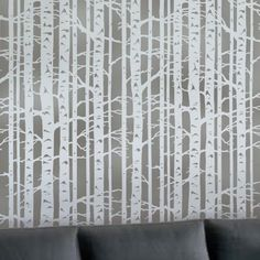Chocolate brown wall with this stencil on the entire wall    Cutting Edge Stencils - Birch Forest Allover Stencil