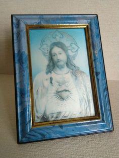 Vintage 3D Sacred Heart of Jesus Blue Print Wooden Frame Religious   A1166 Heart Of Jesus, Sacred Heart, Wooden Frames, French, 3d, Blue, Ebay, Vintage, Wood Frames