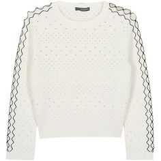 Womens Jumpers Alexander McQueen Ivory Cropped Eyelet Stretch-knit... ($1,360) ❤ liked on Polyvore featuring tops, sweaters, jumpers, blouses, jumper top, grommet top, ivory sweater, jumpers sweaters and raglan sleeve top
