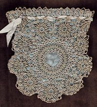 """This small tatted purse combines an undulating cord with tiny tatted circles. Front and back of this gray and pale gray-blue purse are the same. The piece is quite fragile.  7½"""" x 8."""""""