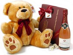 """New Baby Gifts - 16"""" Bear, Chocolates & Pink Champ 