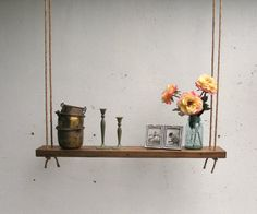Rustic Hanging Oak Accent Shelf made with by ReclaimedTrends, $165.71