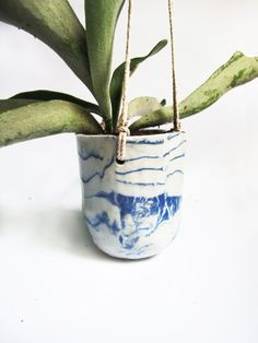Small marbled porcelain hanging planter by LeahBall on Etsy, $70.00