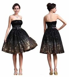 Cute short gold and black sparkly glitter prom homecoming dresses 2014 -2015