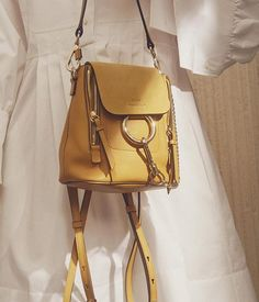 Sunshine ready – our Spring 2017 collection introduces the mini Faye backpack in a saturated dusty yellow  Step into the sun on chloe.com