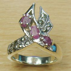 Three Stone Oval Cut Genuine Ruby Marcasite 925 Sterling Silver Ring