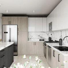 Kitchen Room Design, Kitchen Cabinet Design, Home Decor Kitchen, Interior Design Kitchen, Home Kitchens, New Kitchen, Small Modern Kitchens, Kitchen Modern, Modern Kitchens With Islands