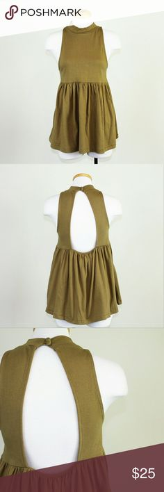 NWOT Free People Cupcake Jersey Mockneck Tank Trendy boho dark yellow/olive green mockneck tank from Free People in like new condition. Features mockneck with buttons at the back of the neck and large keyhole back. Super cute!   Please let me know if you have any questions or need more pictures. I will consider all reasonable offers, but no trades, please. Free People Tops Tank Tops