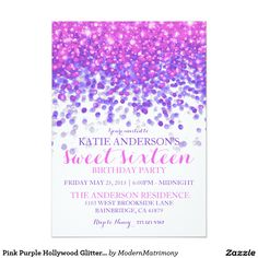 Pink Purple Hollywood Glitter Sweet Sixteen Party Card - This feminine, over the top Hollywood glam themed sweet sixteen birthday party invitation features a black background with hot pink and purple sparkling glitter falling from the top of the card.