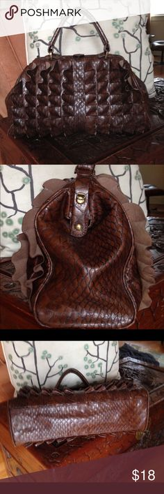 """Jessica Simpson Satchel Ruffled faux leather satchel bag says conservative with attitude!  In very good pre-owned condition. Faux reptile skin pattern with snap top closure and JS logo on the exterior side panel and inside zipper pocket. Two slot pockets inside. Measures: 15"""" across at bottom x 9.5"""" tall x 3.5"""" base x 5"""" strap drop. NO shoulder strap. Jessica Simpson Bags Satchels"""