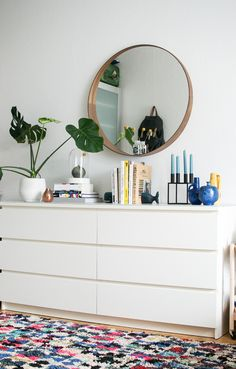 Happy Interior Blog: Little Boho Makeover At Home | simple white dresser with round mirror #bedroom #design #minimal