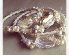 Three Custom Bridal Sari Silk and Swarovski Pearl with Crystal Bangle Bracelets  BE14103