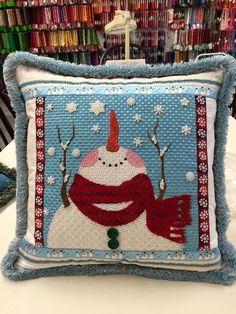 needlepoint snowman pillow, designer unknown
