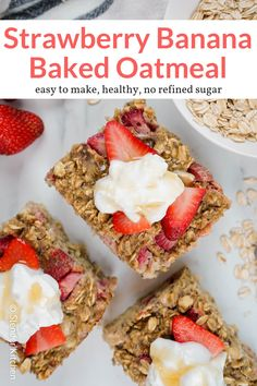 This easy baked oatmeal packed with bananas and strawberries is a healthy, delicious breakfast that is perfect for a crowd, meal prep, and can even be frozen. Strawberry Breakfast, Strawberry Oatmeal, Banana Breakfast, Breakfast Recipes, Frozen Breakfast, Vegan Baked Oatmeal, Baked Oatmeal Recipes, Baked Oats, Healthy Strawberry Recipes